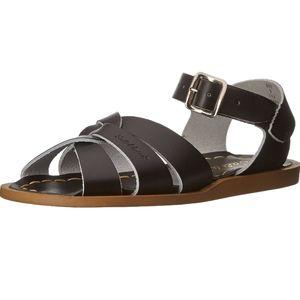 Salt Water Sandals Shoes Leather Black Womens 10